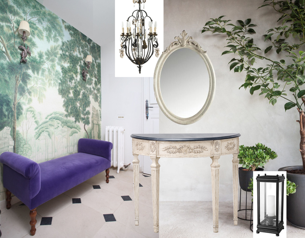 wallpaper Italian Panoramic  Iksel  - bench Rodin  Marie's Corner  - wall scones  Judeco  (picture  Casa Lux ) - hanging lamp Astrid  Mis en Demeure  - console Fontainebleau  Mis en Demeure  - mirror  Signature  - hurricane Prins Charles  Eichholtz  - picture with big plant found on  Pinterest