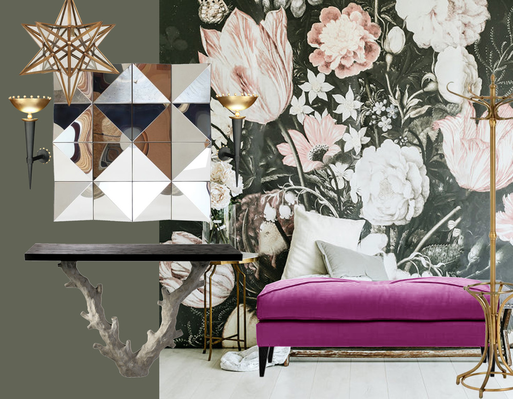 big wall print  Anewalldecor  - bench Louise  Pierre Frey  - coatrack Kent  Eichholtz  - hanging lamp Star Lantern  Vaughan  - Twig console table  Porta Romana  -  mirror Tokyo  Villiers  - wall scones Olympe  Pouenat