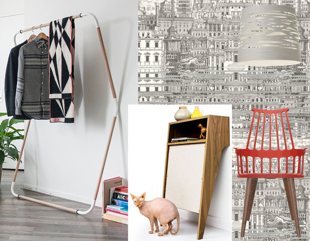 wallpaper Riflesso Cole & Son - chair Comback Kartell - hanging lamp Tress Foscarini - coatrack Jeroen Van Leur Restored - cat console Modernist Cat
