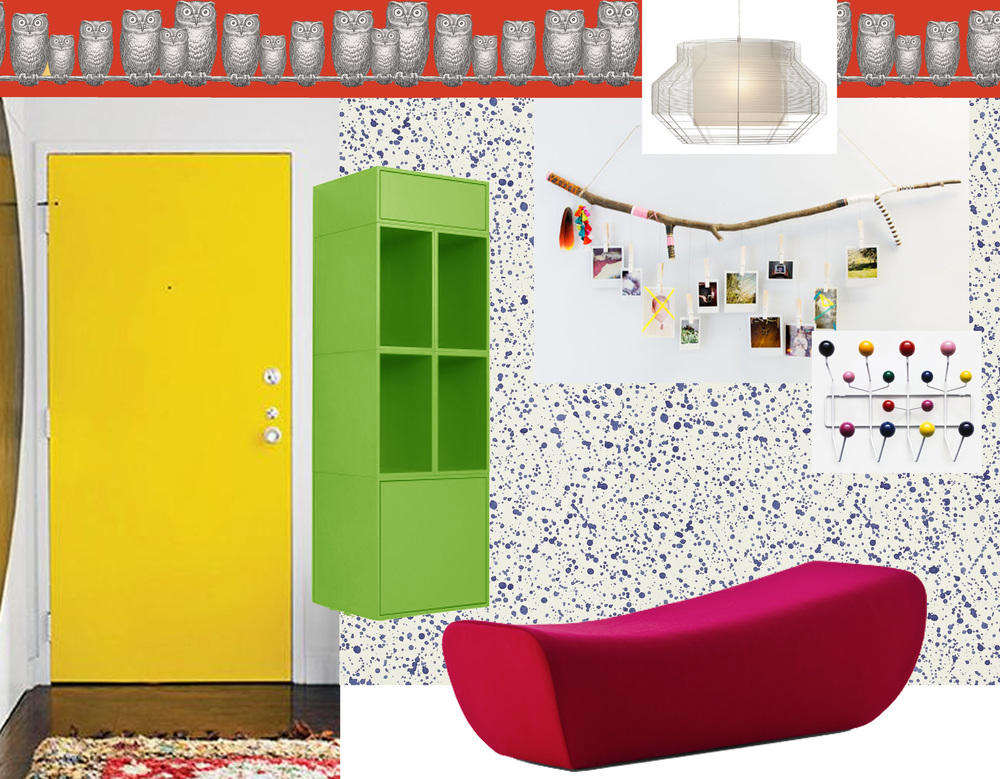 picture yellow door found on Pinterest - storage  Cubit  - wallpaper Splatter  Sanderson  - frieze Nottambule  Cole & Son  - bench Buba  Moroso  - hanging lamp Mesh  Forestier  - coatrack Hang it all  Vitra  - Tree Branch  Buma Studio