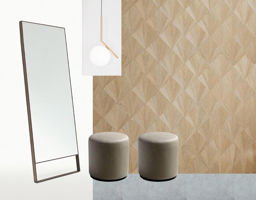 mirror Psiche  B&B  - hanging lamp IC Lights  Flos  - wall wood veneer Ajiro Fanfare  Maya Romanoff  - stools Collin  Marie's Corner