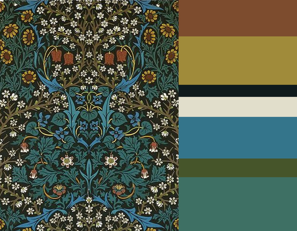 wallpaper William Morris - Benjamin Moore Satchel - Farrow & Ball Sudbury Yellow - Farrow & Ball Black Blue - Farrow & Ball Pointing - Benjamine Moore Cool Blue - Benjamine Moore Herb Garden - Benjamine Moore Highlands Green