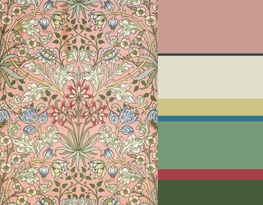 Hyacinth wallpaper - Zoffany Tuscan Pink - Farrow & Ball Studio Green - Zoffany Linen Half - Zoffany Velvet Yellow - Benjamin Moore Deep Ocean - Farrow & ball Breakfast Room Green - Zoffany - Raspberry Sorbet - Farrow & Ball Calke Green