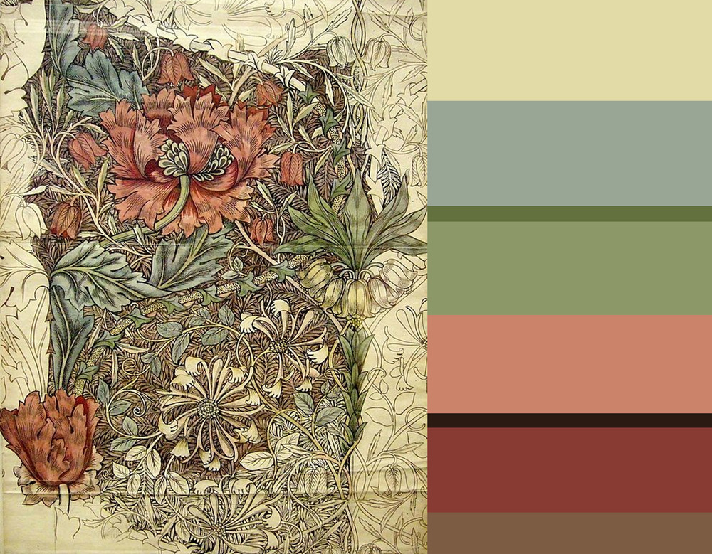 drawing William Morris - Zoffany Catkin - Zoffany La-Seine-Double - Farrow & Ball Calke Green - Benjamine Moore Central Park - Farrow & Ball Tanner's Brown - Benjamin Moore Spanish Red - Benjamine Moore Acorn
