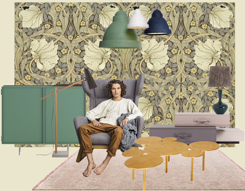 William Morris design as a photo wall print - Lochness Cabinet Cappellini - Filly lamp Himmee - armchair Lord Melyo - coffeetable To Turn you On with gold leave finish Pouenat - Pile of Suitcases by Maarten Ceulaer Nilufar - hanging lamp Salago Moooi - table lamp Shisha Porta Romana - rug Tweed Casalis