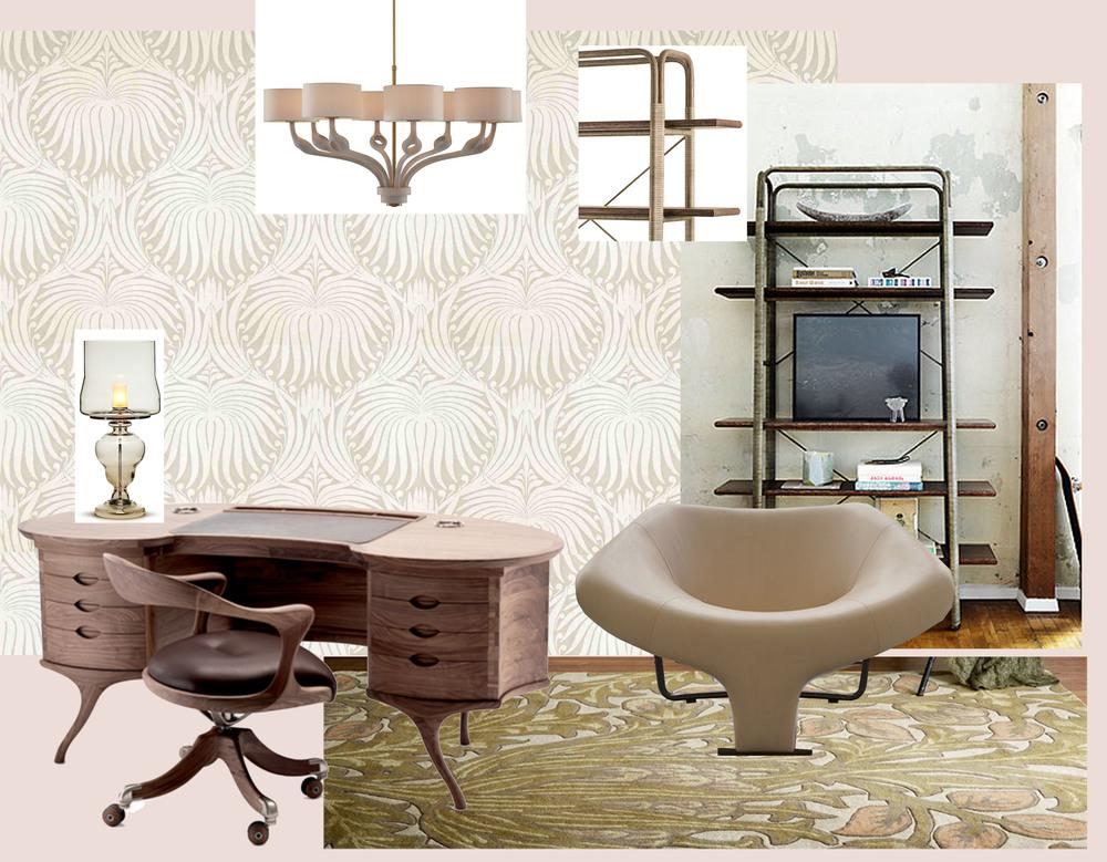 wallpaper Lotus  Farrow & Ball  - desk Bean and armchair Marlowe  Ceccotti  - lamp Kaipo TOO  Moooi - Kincob Bookshelf  McGuire  - armchair DC102  Progetto Domestico  - Anneau Chandelier  Baker  - rug Artichoke  Morris & Co