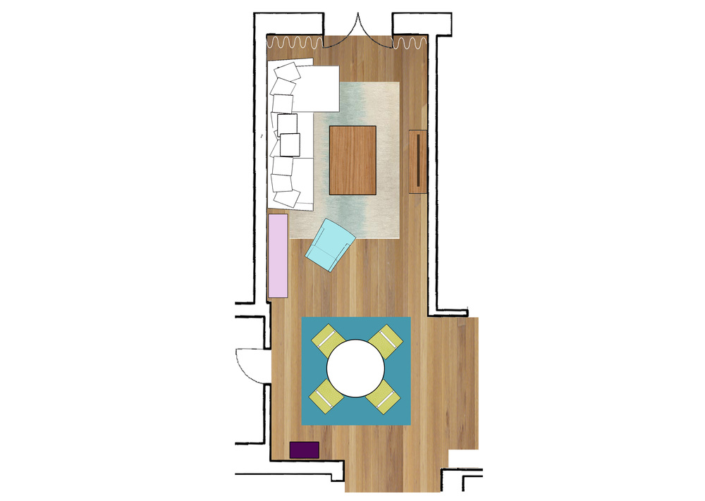 lay-out living/dining area