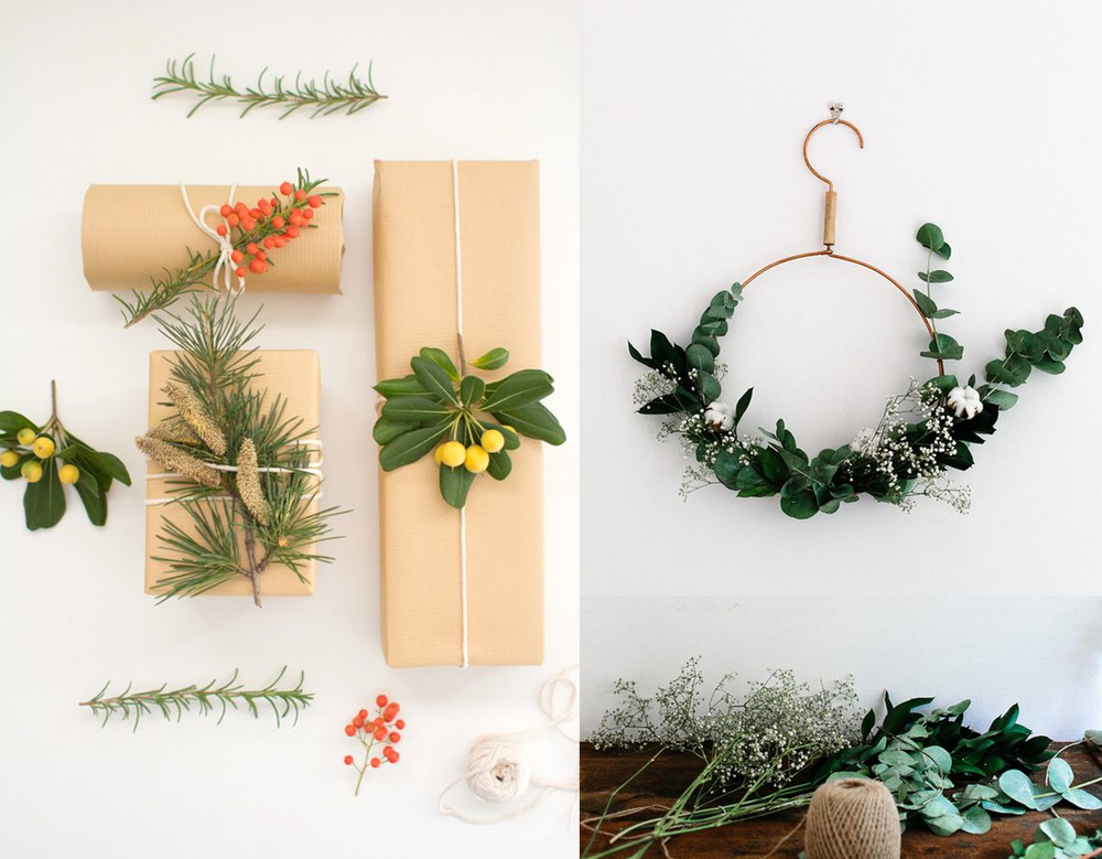 botanical wrapping paper idea  Lovely Indeed  - wreath idea  French by Design