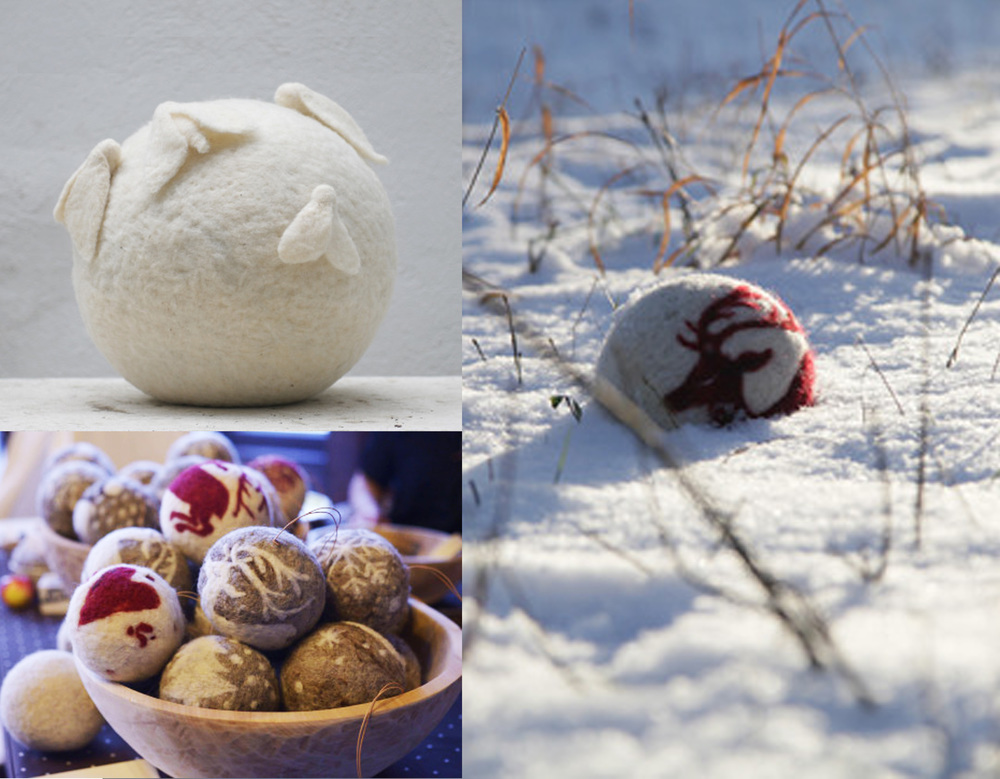 handmade felt Christmas balls by  Wools & Wolf