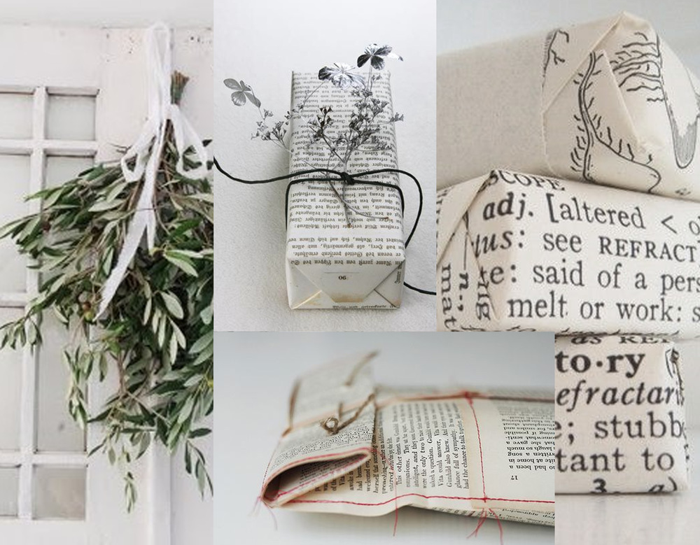 wrapping ideas via Cool Mom Picks - Oh So Beautiful paper - soaps wrapped in pages out of book Formulary 55 -