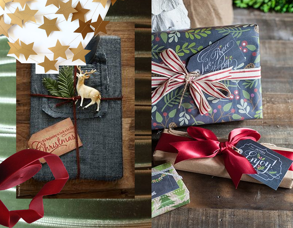 Christmas garland Mailbox Happiness - wrapping in denim found on Stocksy - printed wrapping paper found on Indulgy