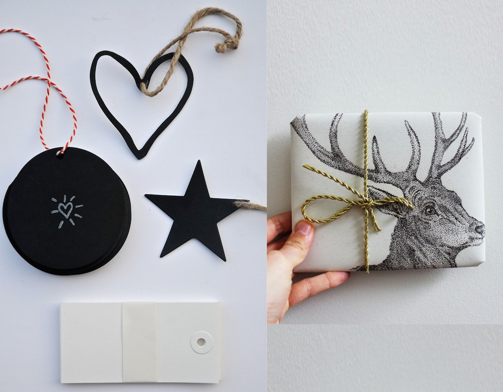 black-and-white accessories via Simple Blueprint - wrapping paper Blessing and Honour