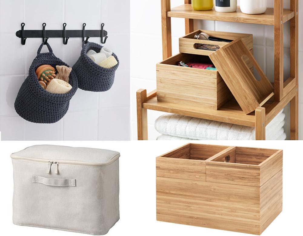 crochet basket Nordrana  IKEA  - cotton linen zipp box  Muji  - set of 3 wooden boxes Dragan  IKEA