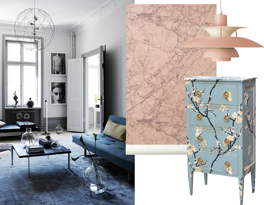 image via Fashion Squad - marble wallpaper Ferm Living - lamp PH5 Louis Poulsen - chiffonier Directoire Moissonnier