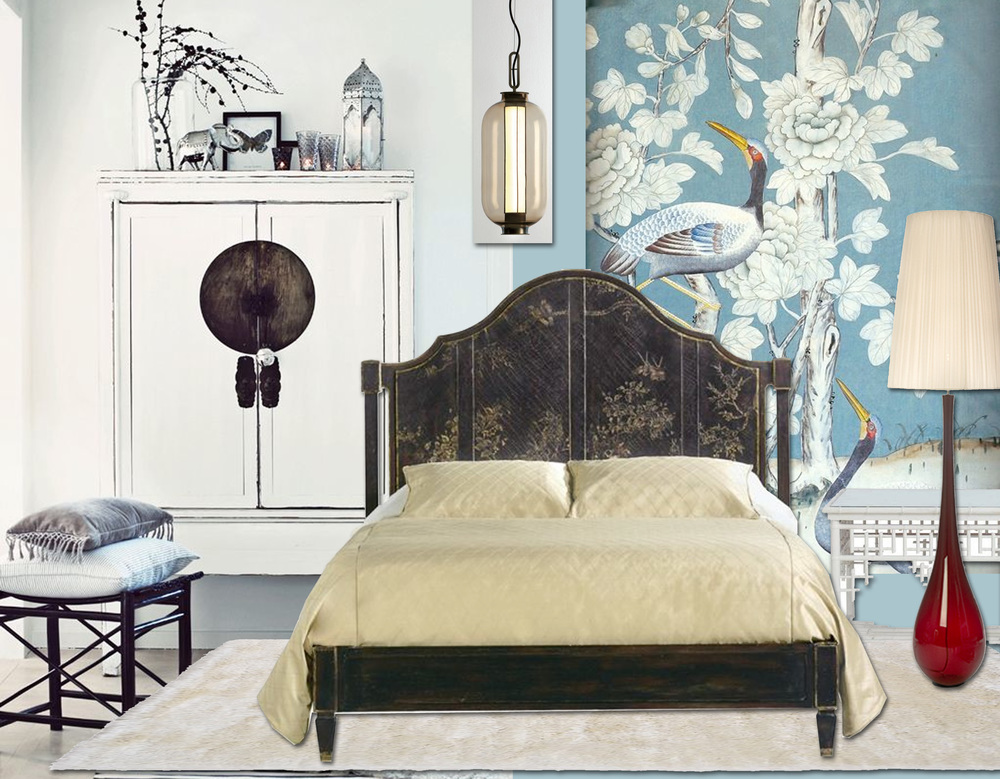 image  Deco Crush  - handpainted wallpaper Chinoiserie  De Gournay  - hanging lamp Bai Ba Ba  Parachilna  - bed  Baker  - Alice floor lamp  Baroncelli  - nightstand Ralph Lauren  Elle Decor