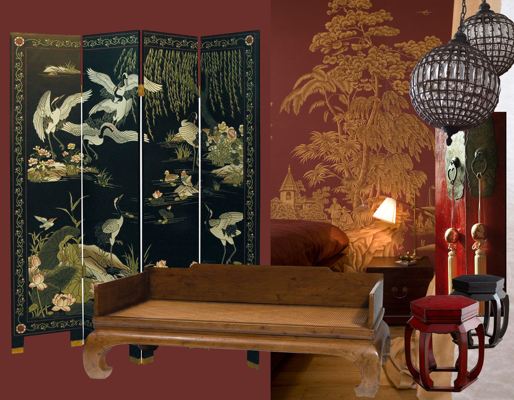 room divider  Pinterest  - Nanmu bed Ming dynasty  Sotheby's  - wallpaper  Iksel  - small furniture  Pinterest  - globes  Spiridon