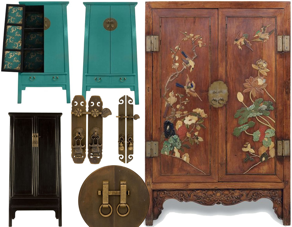 teal blue Chinese cabinet  HomeGirlLondon  - Ming Style linen cabinet  Humble House  - embellished cabinet late Ming - early Qing dynasty  Alain Truong  - Chinese hardware on  Nomadic Decorator