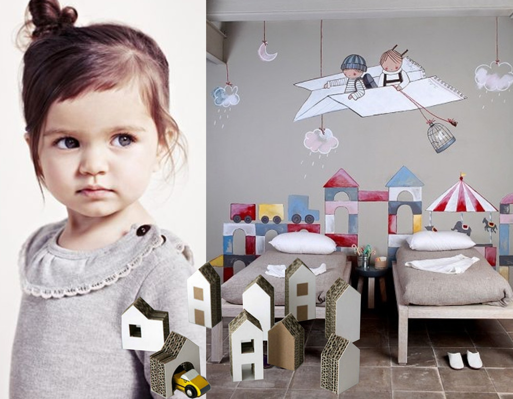 kidsfashion  - mural  Stencil Barcelona  - cardboard houses on  Pinterest