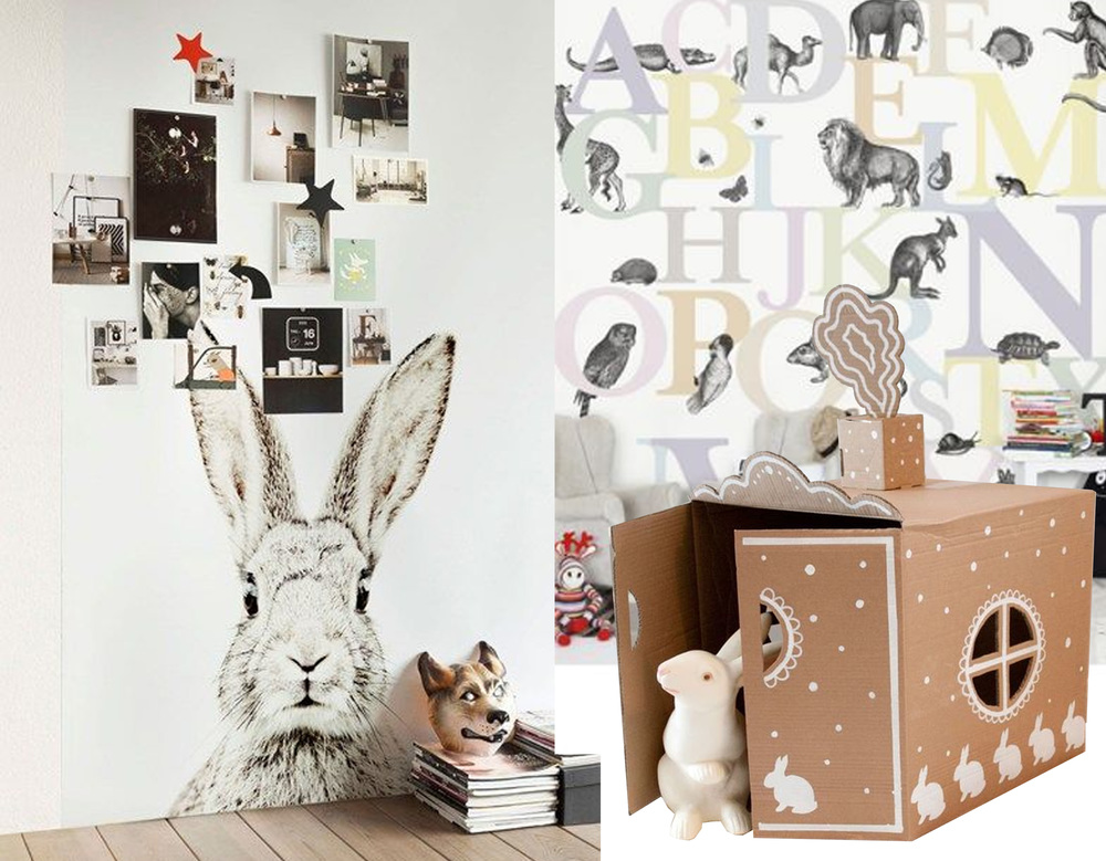 magnetic wallaper  Groovy Magnets  - wallpaper Mr Perswall Hide and Seek   Rockett st George  - Bunny House  Hello Wonderful