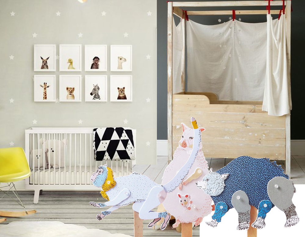 image nursery found on  Design in Vogue  - DIY paper puppets  Furzechan  - Jana canopy crib  XO-in My Room