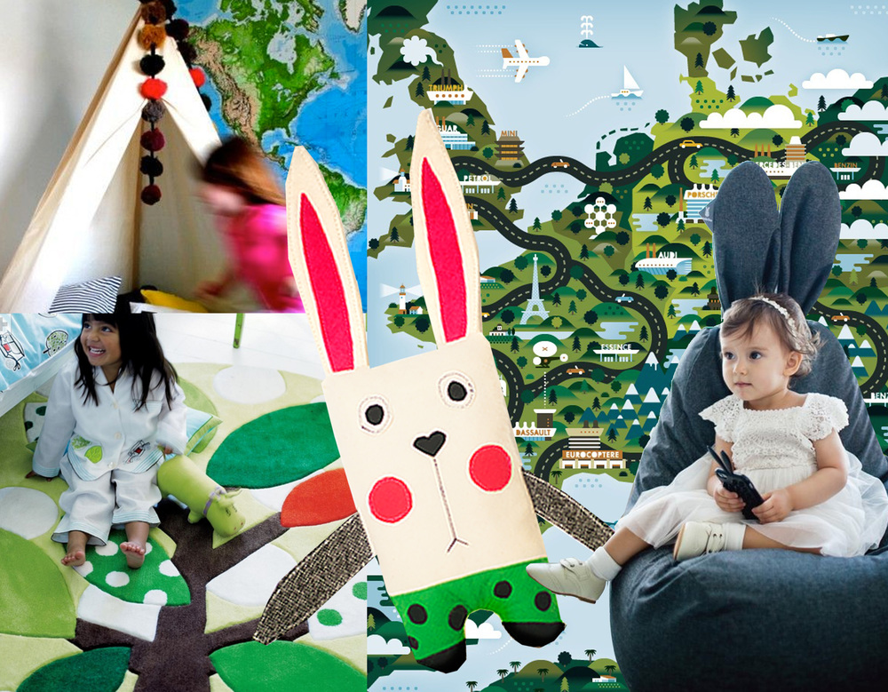Khuan + Ktro n  Good Life Illustration - Pond Street rug  Designers Guild  -  Spinter  Ploosh Dolls  - rabbit bean bag  Rabito