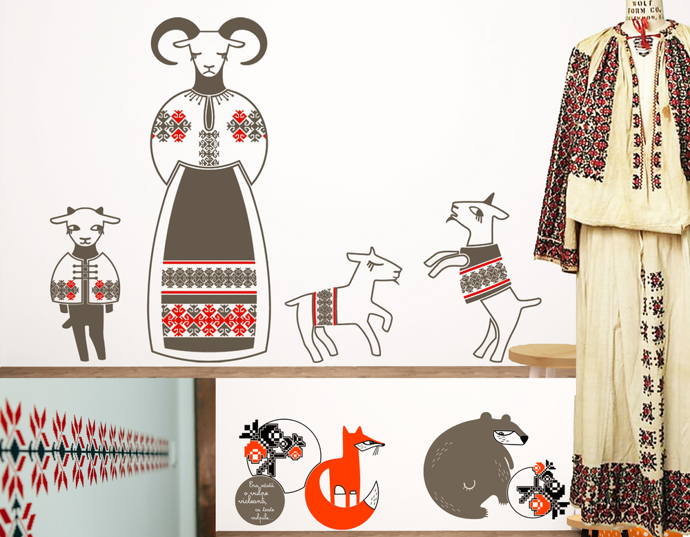 wall stickers  Cai verzi pe pereti - late 19th cotton Romanian dress The Met