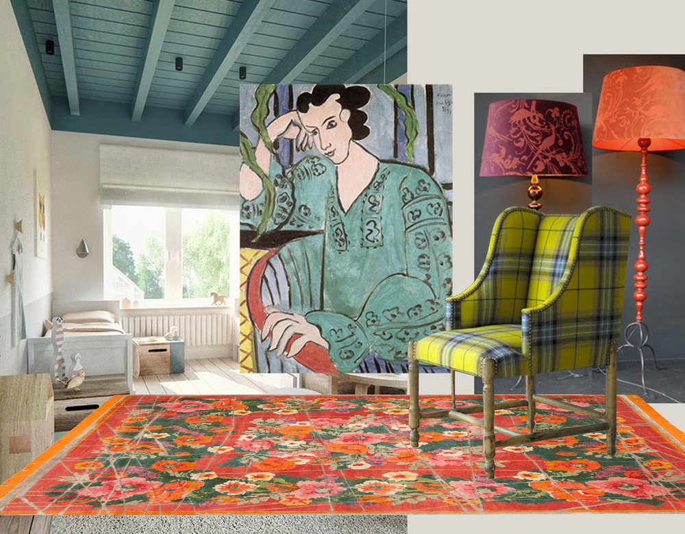 kids room found on  Behance   painting Matisse - standing lamps  Emery et Cie  - armchair  Moissonnier  - rug  Jan Kath