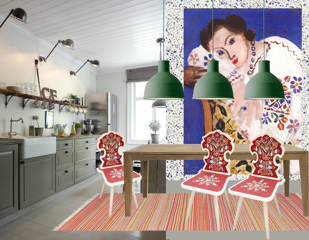 country kitchen found on Planete Deco - painting Matisse - wallpaper Splatter Sanderson - lamp Unfold Muuto - rug Symmetry Scion - table Helsinki Vincent Sheppard - painted chair Gustave Mobila Pictata