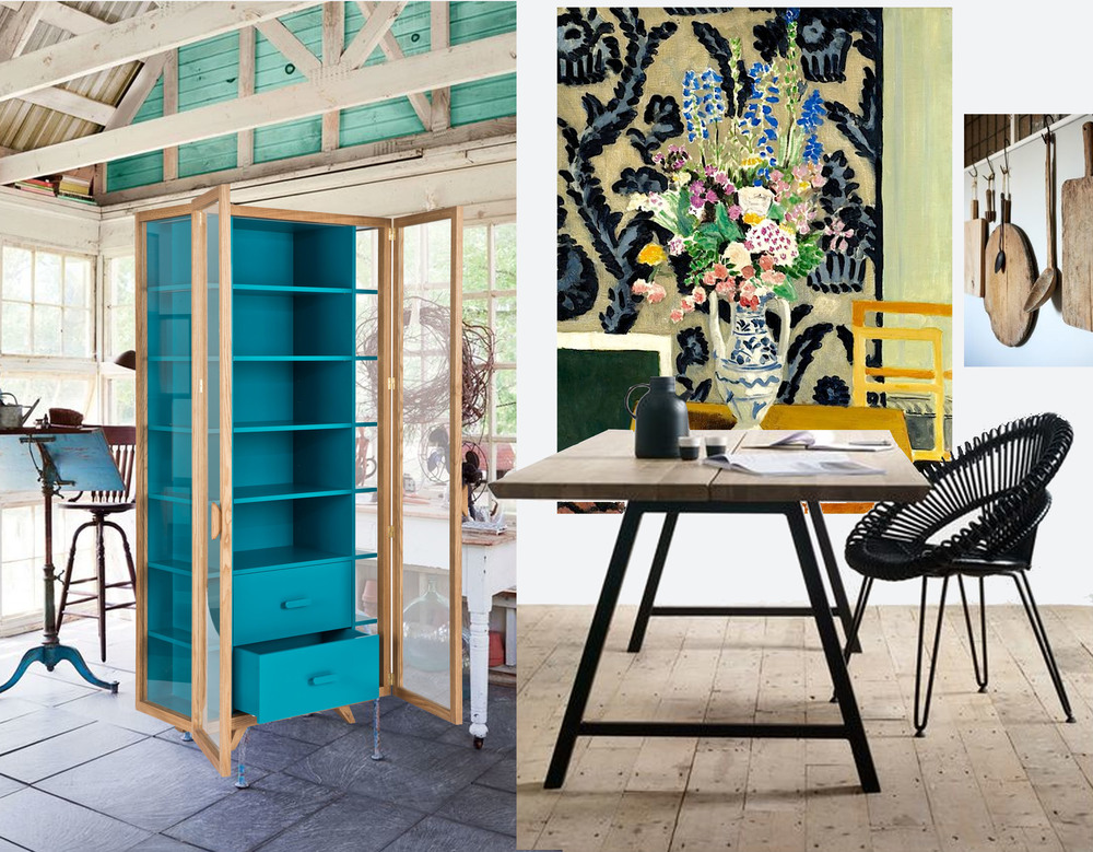 interior found on  Country living  - Vitrina tall cabinet by  Hierve  - painting with flowers Matisse - table and chair  Vincent Sheppard