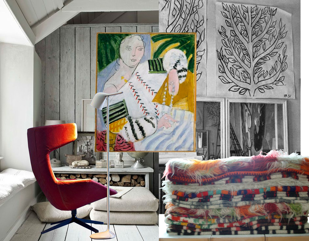 painting and drawign Matisse - interior found on Pinterest - colourful blankets from Peasant museum Bucharest - lamp Colibri Foscarini