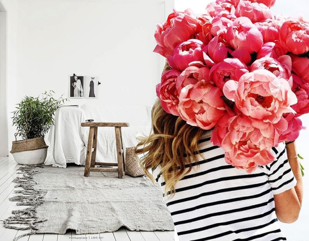 image interior via  Hitta Hem  - picture girl with flowers on  Pinterest