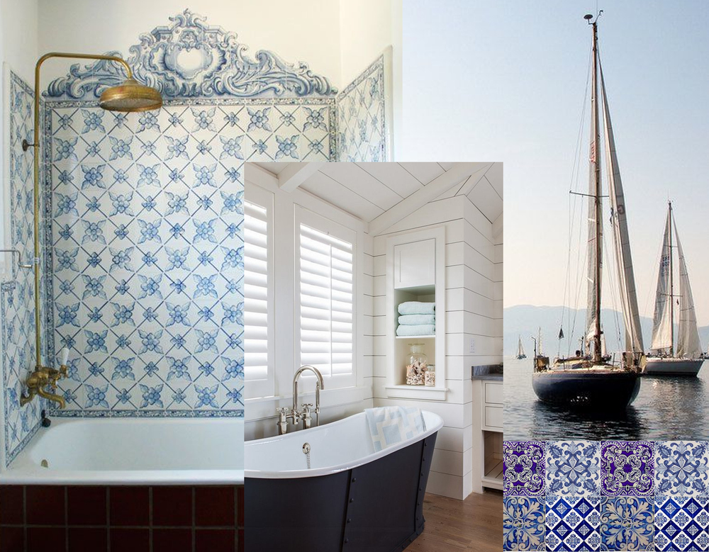 azulejos in bathroom found on  Live Auctioneers  - nautical bathroom found on  Home Bunch  - Art Print on  Pinterest