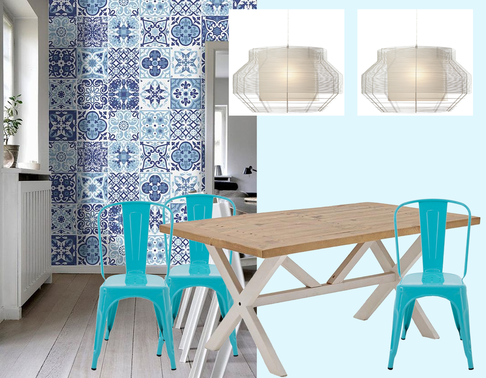 Blue tiles stickers  Home Art Stickers  - hanging lamps  Forestier  - table Zorro  Retro Boutique  - chair St Marteen  Retro Boutique