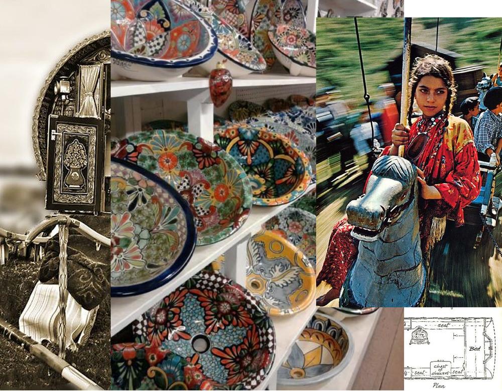 Vardo wagon via  Red Bubble  - sinks  Mexican Tile Design  - Roma girl via  Flickr