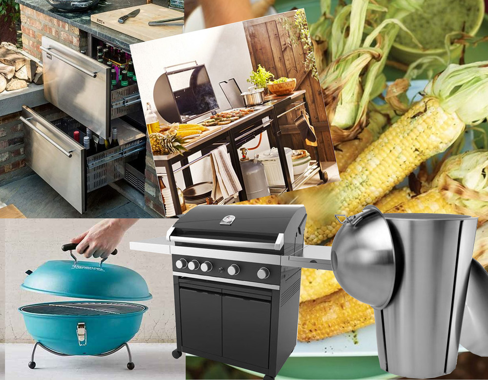 refrigerated drawers via Country Living - grill IKEA - Vacences portable barbecue Urban Outfitters - gas grill on Ambiente Direct -  Eva Solo gasgrill on Ambiente Direct - grilled corn Martha Steward
