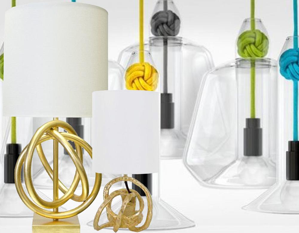 Gold Knot lamp  T.A.Lorton  - Mini Knot table lamp  One Kings Lane  - Knot pendant lamp  Vitamin