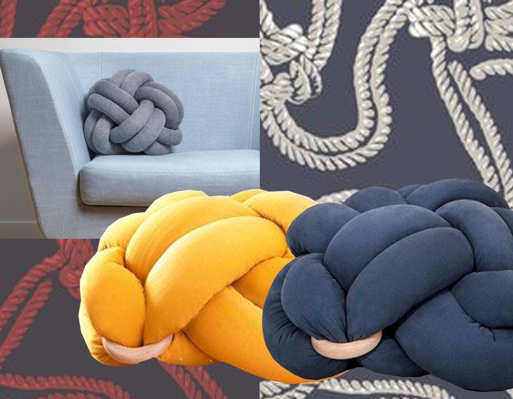 Rope wallpaper  Cole & Son  - Knot cushion by Umemi studio via  Dezeen  - Knot floor cushion  Knot Studio