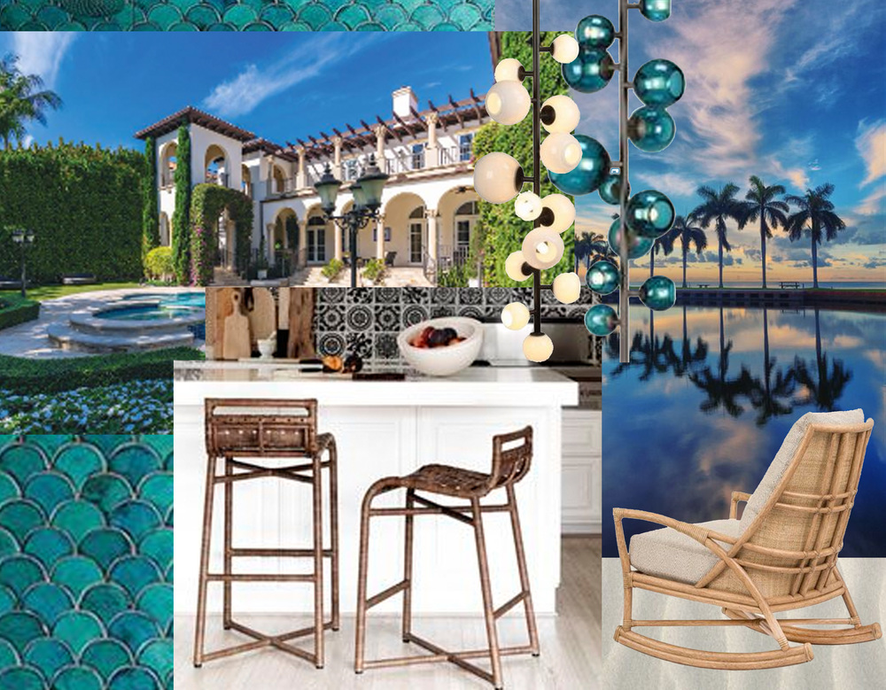 Douglas Elliman Real Estate  - picture sunset via  Crossing Island  - Petal rocking chair and Steven Volpe Crin bar chair  McGuire  - Last Night Totem lamps  Pouenat