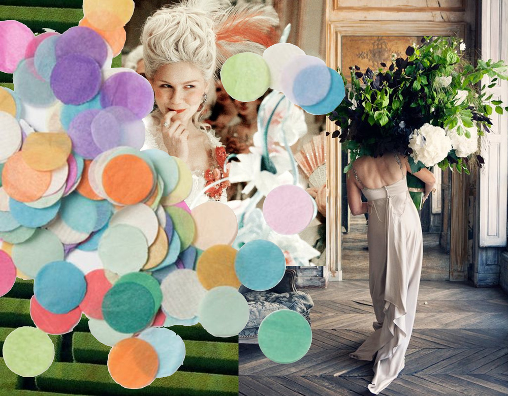 still from movie Marie Antoinette - image woman carrying flower arrangement via Riley & Grey - confetti Supply & Co