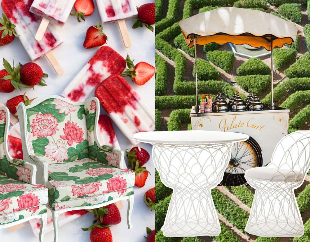 strawberry popsicle  Style Me Pretty  -   gelato cart via   Pinterest   -   Louis XV armchair  Photoliu  - Re-Trouve outdoor furniture by Patricia Urquiola  Emu  -