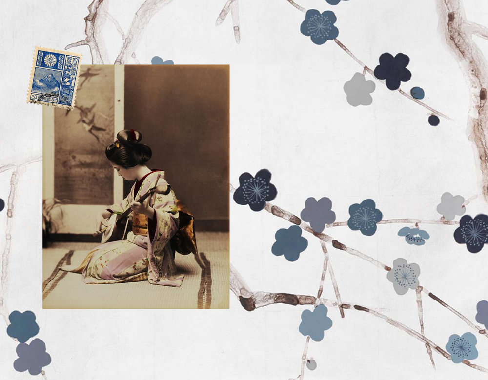hand painted wallpaper De Gournay - image Geisha via Araknesharem - Japanese stamp via Flickr