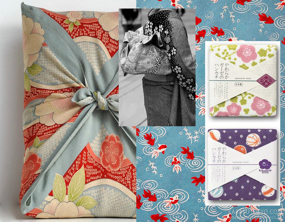 Japanese textile wrapping via Tokyo Pic - Japanese style packaging via MYA - printed paper via Flickr - kimono via Kikikimono