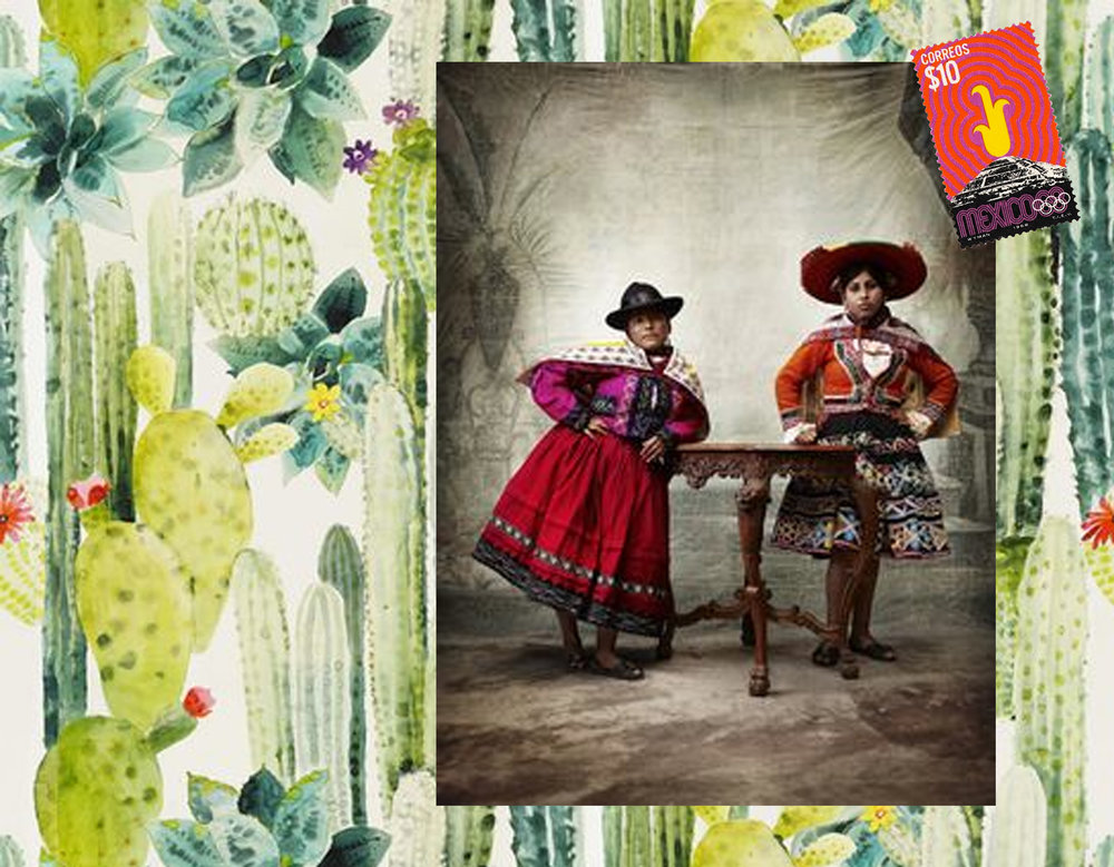 Cuilko wallpaper Pierre Frey - photograph by Mario Testino via Olivia Palermo - Mexicn stamp via Una Vida Moderna