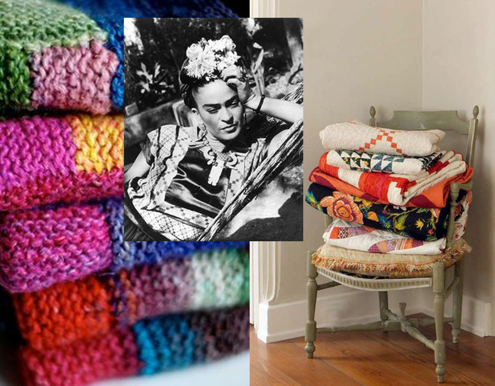wool blankets via Pinterest - image Frida Kahlo via Peaceful Chaotic - modern quilts DSQuilts