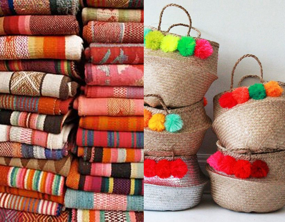 rugs via Hippie Hippie Chic - pom pom baskets via Blueberry Home