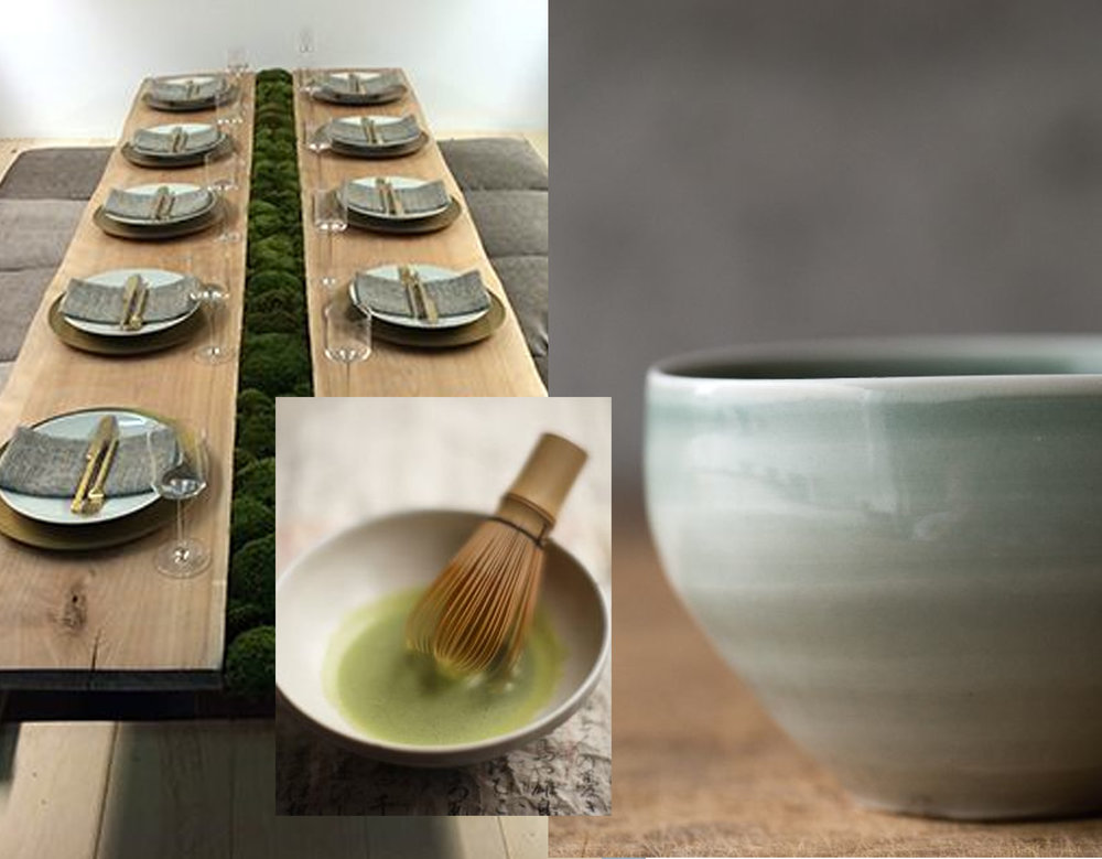 tabletop decoration via The Nest - Japanese tea cup via Pinterest - picture tea ceremony via Living a Life in Flower