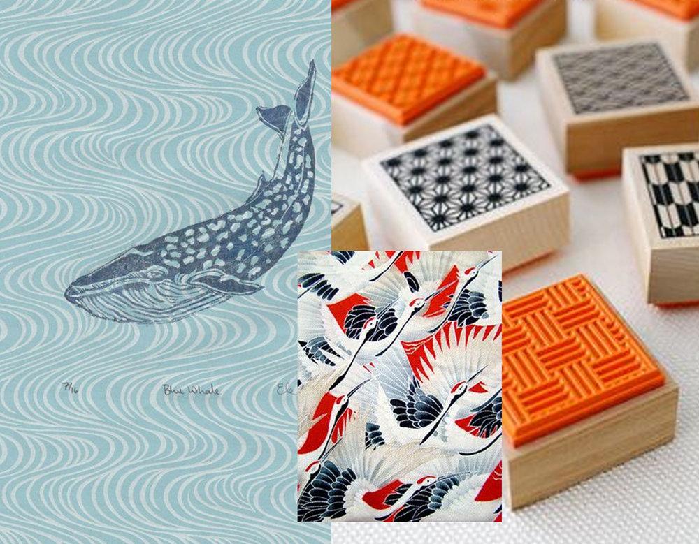 lino-cut printed paper  Minouette  - wooden stamps  Karaku Tokyo  - printed fabric via  Pinterest