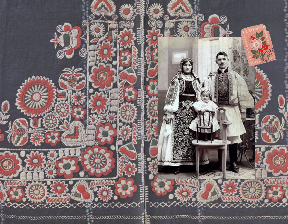 Romanian embroidery out of book Peasants museum Bucharest - image Romanian family via Pinterest - Romaina stamp via Flickr