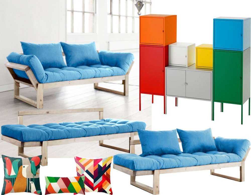 Edge sofa-bed  Karup  - storage system Lixhult  IKEA  - colourful pillows form Dotand bo and  IKEA