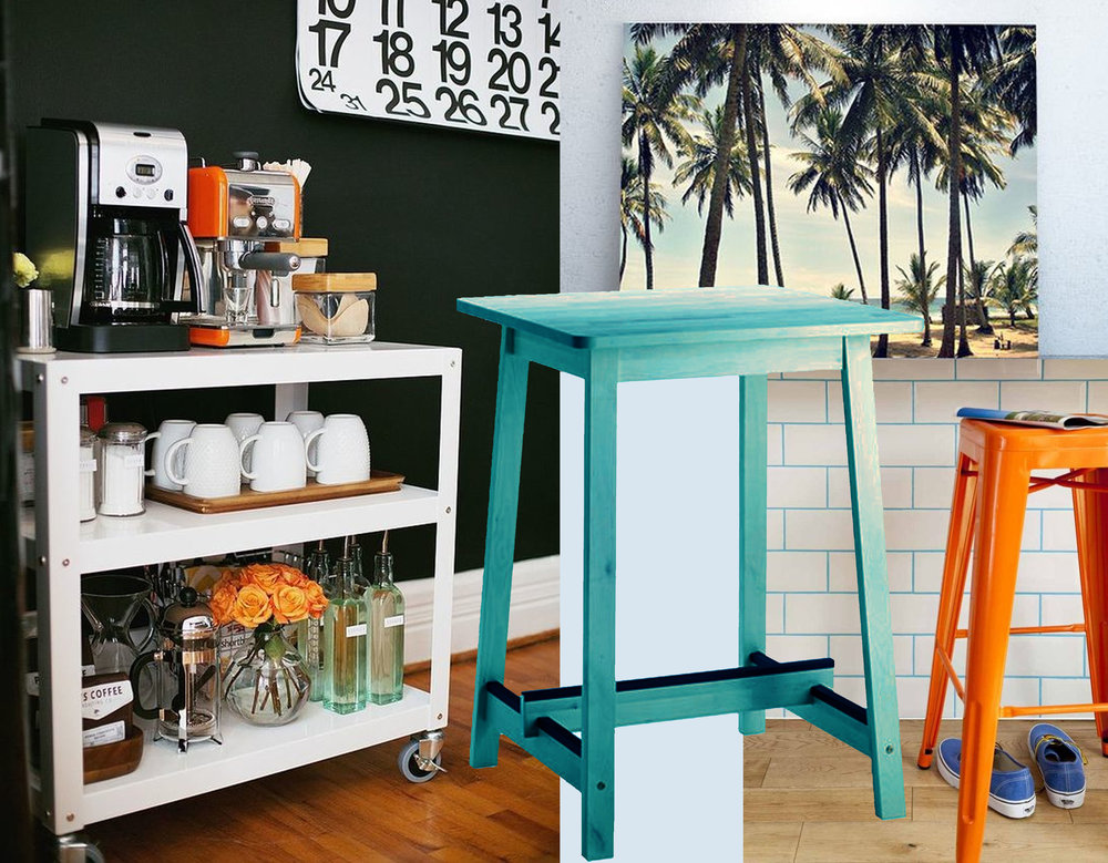 image trolley via  Popsugar  - nature photography print  Anewalldecor  - bar table Norråker  IKEA  - image bar chair via  Tabulous Design